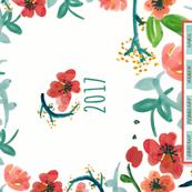 2017 Watercolor Floral Bright Tea Towel Calendar