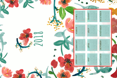 2018 Watercolor Floral Tea Towel Calendar fabric by pixabo on Spoonflower - custom fabric
