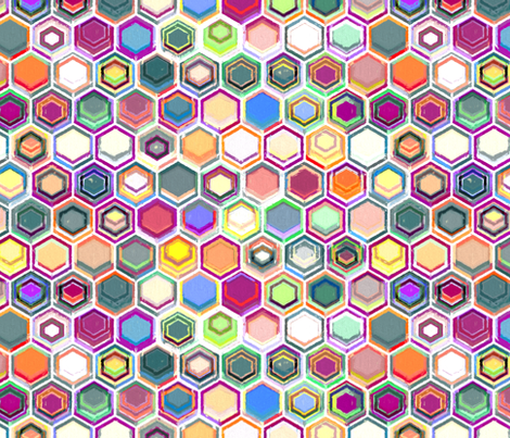 Colorful Oil Pastel Hexagons fabric by micklyn on Spoonflower - custom fabric