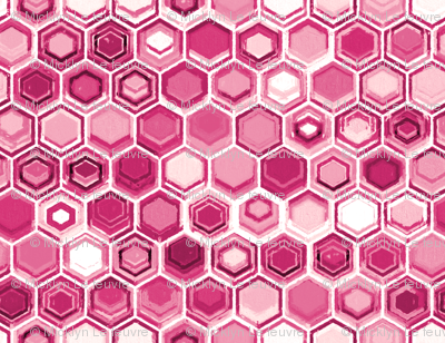 Berry and Magenta Oil Pastel Hexagons