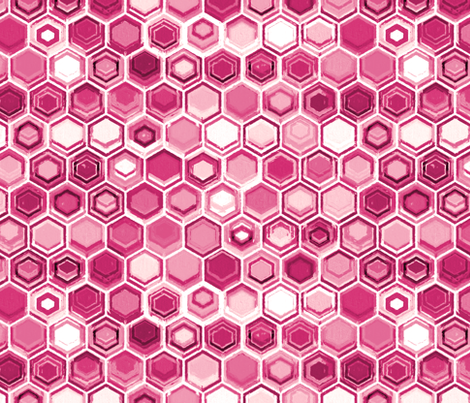 Berry and Magenta Oil Pastel Hexagons fabric by micklyn on Spoonflower - custom fabric