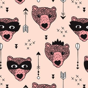 Cool woodland grizzly bears hipster indian arrows and super hero mask illustration for kids in pale pink for girls