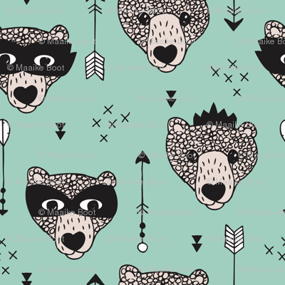Cool woodland grizzly bears hipster indian arrows and super hero mask illustration for kids in mint