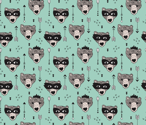 Cool woodland grizzly bears hipster indian arrows and super hero mask illustration for kids in mint fabric by littlesmilemakers on Spoonflower - custom fabric