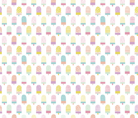 Colorful popsicle ice cream summer illustration pattern fabric by littlesmilemakers on Spoonflower - custom fabric