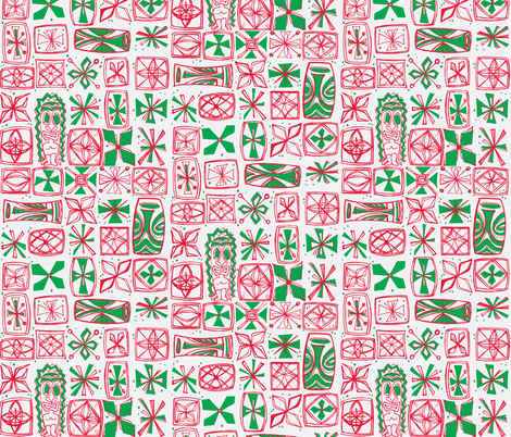 Castaway- Holiday 2015 white fabric by sophista-tiki_by_dawn_frasier on Spoonflower - custom fabric