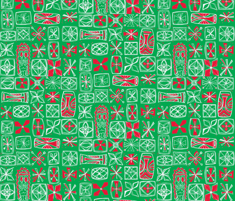 Castaway- Holiday 2015 green fabric by sophista-tiki_by_dawn_frasier on Spoonflower - custom fabric
