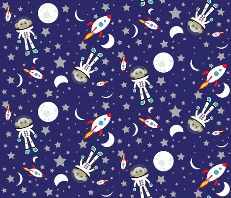 Monkey in outer space fabric pumpkinbones spoonflower for Spaceman fabric