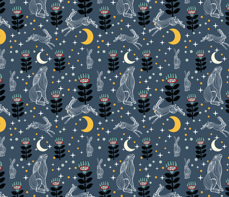 Hare Moon fabric by weejock on Spoonflower - custom fabric