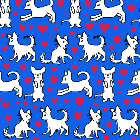 Black and White Chihuahuas with red hearts fabric by eclectic_house on Spoonflower - custom fabric
