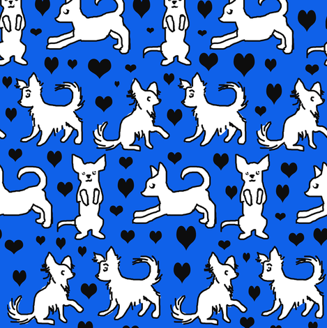 Black and White Chihuahuas with Black Hearts fabric by eclectic_house on Spoonflower - custom fabric