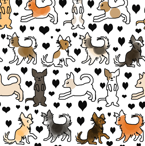 Chihuahua colors on white fabric by eclectic_house on Spoonflower - custom fabric