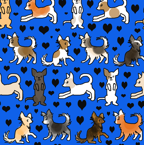 Chihuahua Colors on Blue fabric by eclectic_house on Spoonflower - custom fabric