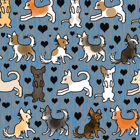 Chihuahua Colors on Blue Wood fabric by eclectic_house on Spoonflower - custom fabric