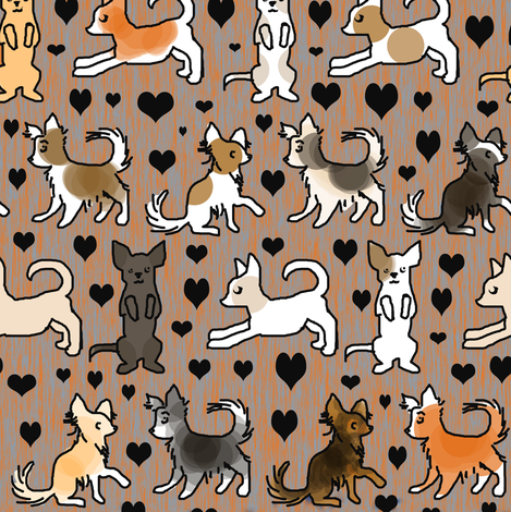 Chihuahua Colors on Orange Wood fabric by eclectic_house on Spoonflower - custom fabric