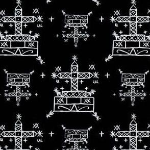 Baron Samedi Voodoo Veve Symbols in Black