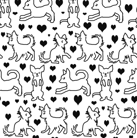 Black and White Chihuahuas fabric by eclectic_house on Spoonflower - custom fabric
