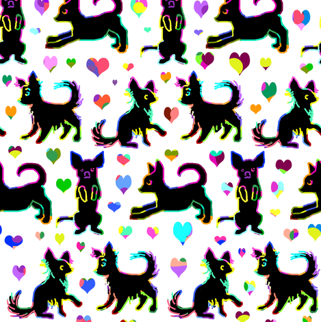Rainbow Scratchboard Chihuahuas on White fabric by eclectic_house on Spoonflower - custom fabric