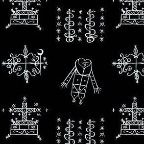 Papa Legba + Baron Samedi + Gran Bwa + Damballah-Wedo Voodoo Veve Symbols in Black