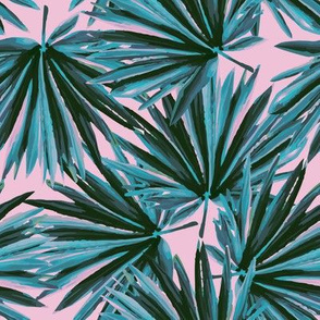 Tropical Palm Leaves in Botanical Green + Pink Conch