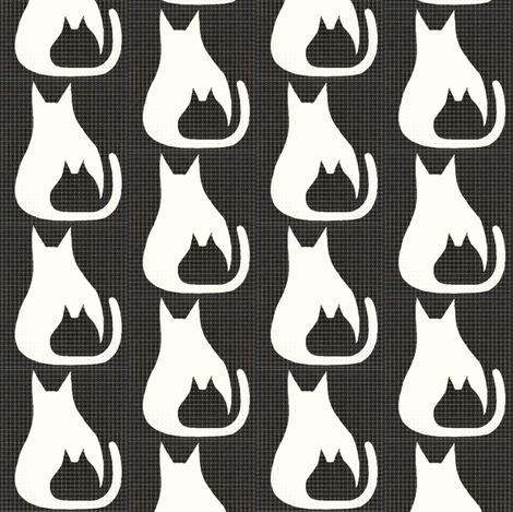 Cat Kitten White Black Flannel fabric by eve_catt_art on Spoonflower - custom fabric