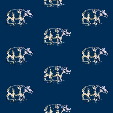 Sumatran rhino - navy fabric by sweetlittletinkers_ on Spoonflower - custom fabric