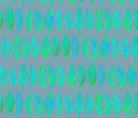 Neon Lime Green and Cobalt Leaves on Grey Blue fabric by micklyn on Spoonflower - custom fabric