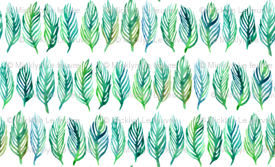Green and Blue Watercolor Leaves in Lines
