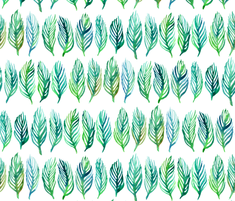 Green and Blue Watercolor Leaves in Lines fabric by micklyn on Spoonflower - custom fabric