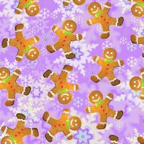 Gingerbread Men on Purple Snowflakes Background
