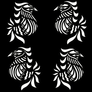 two birds on black