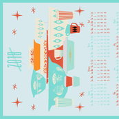 2018 Red and Turquoise Pyrex Tea Towel