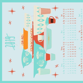 2019 Red and Turquoise Pyrex Tea Towel