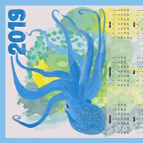 Blue Octopus' Garden Calendar 2019 - Vertical