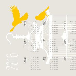 BirdCage TeaTowel Calendar2016