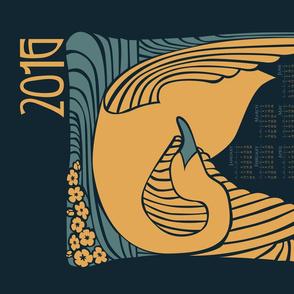 2016 Calendar Swan Nouveau Tea Towel