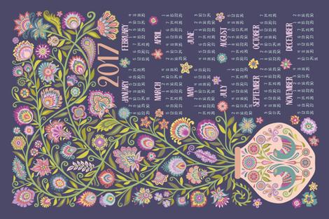 2017 Tea Towel Calendar-Let Your Soul Blossom and Grow fabric by groovity on Spoonflower - custom fabric