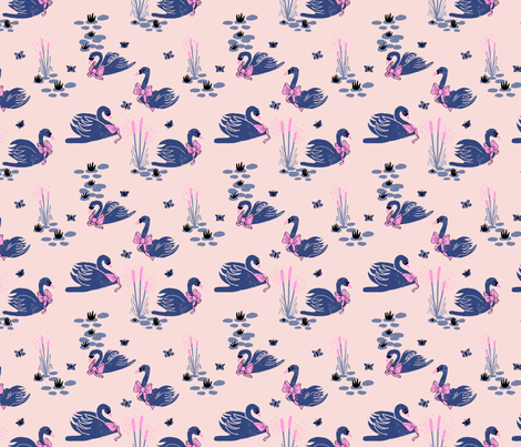 Swans and Bows fabric by ash_sta__teresa on Spoonflower - custom fabric