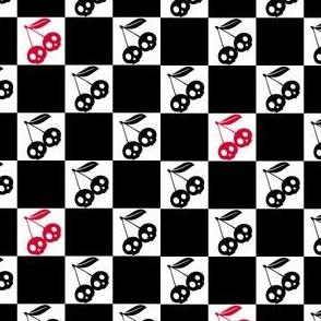 Cherry Skulls Checker Black White Red