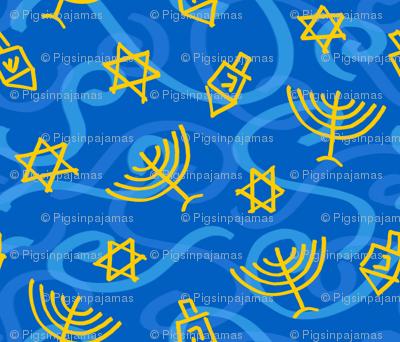 Happy Hanukkah Swirly Shapes