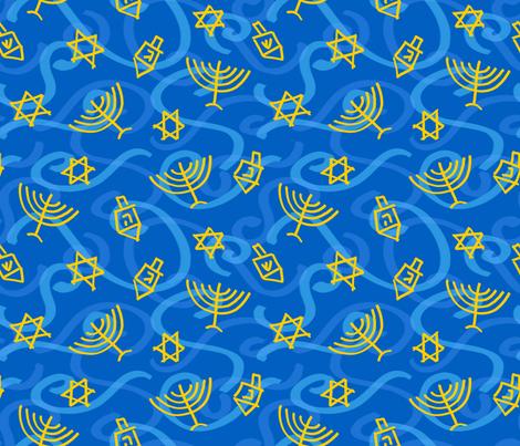 Happy Hanukkah Swirly Shapes fabric by pigsinpajamas on Spoonflower - custom fabric