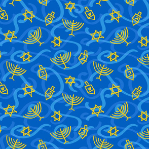 Happy Hanukkah Swirly Shapes