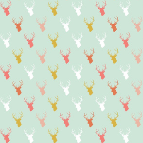 Coral Gold Deer On Mint half scale