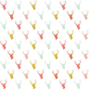 Coral Gold Mint Deer on White half scale