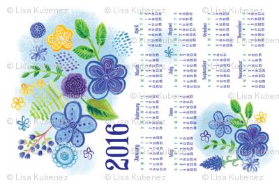 Blue Garden 2016 Tea Towel Calendar