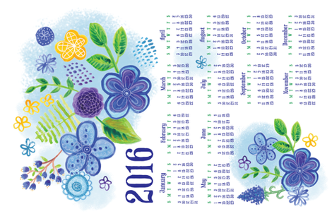 Blue Garden 2016 Tea Towel Calendar fabric by lisa_kubenez on Spoonflower - custom fabric