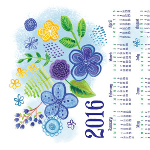 Blue Garden 2016 Tea Towel Calendar