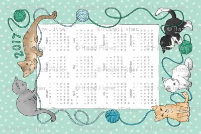 Cats Tea Towel Calendar 2017