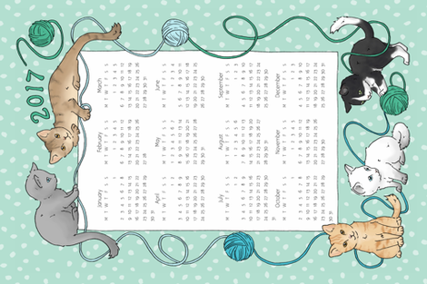 Cats Tea Towel Calendar 2017 fabric by hazel_fisher_creations on Spoonflower - custom fabric