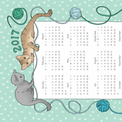 Cats Tea Towel Calendar 2017